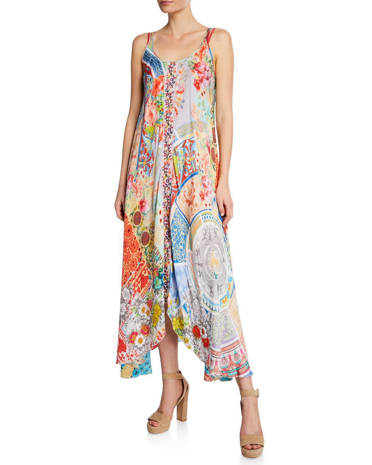 041e8b327631 Johnny Was Kara Mixed-Print Scoop-Neck Sleeveless Dress W/ Slip In Multi
