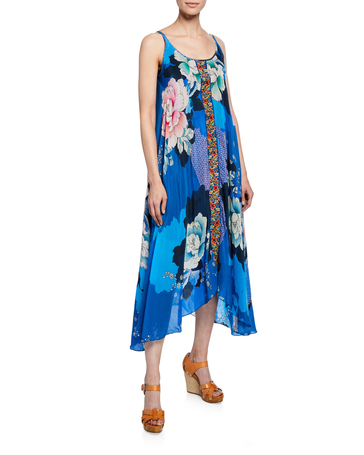 459814bba5b9 Johnny Was Kara Floral-Print Scoop-Neck Sleeveless Dress W/ Slip In Blue