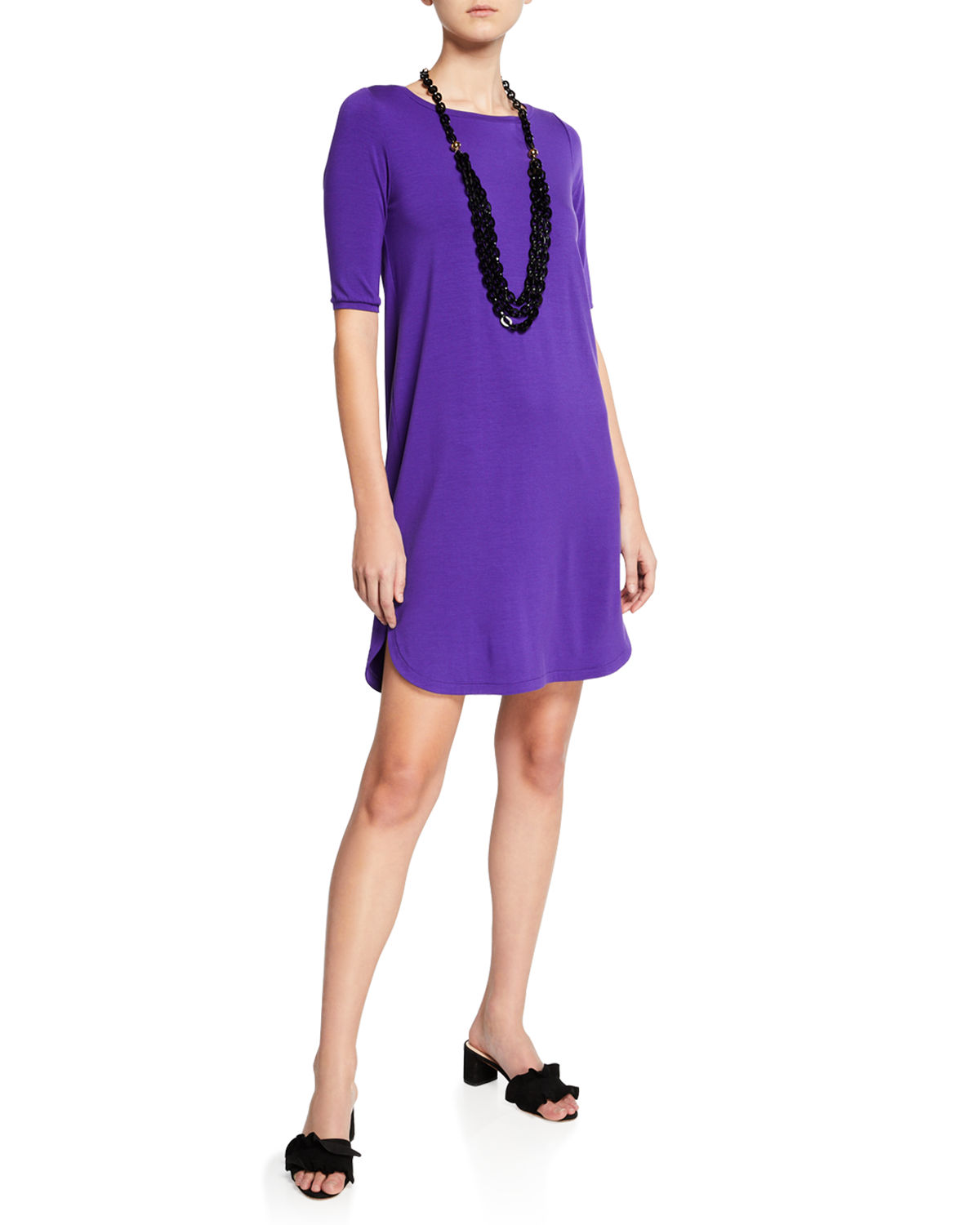 Plus Size Elbow-Sleeve Shirttail-Hem Jersey Dress in Violette