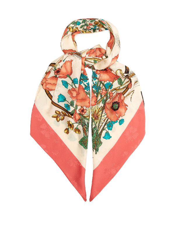 Gucci Floral-print And Jacquard Silk Scarf In Pink