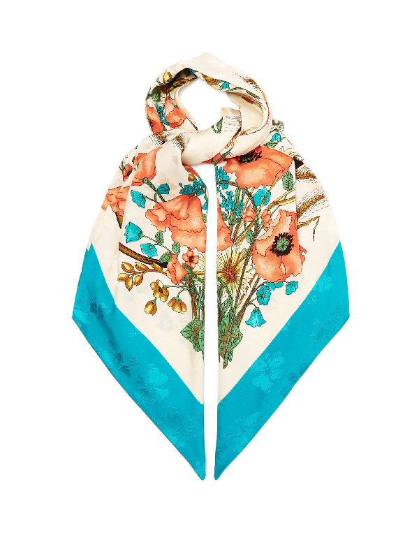Gucci Floral-print Silk Scarf In Blue