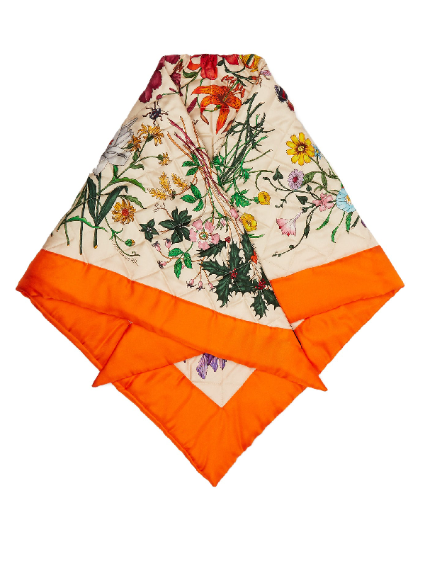Gucci Flora-print Quilted Silk Scarf In Orange