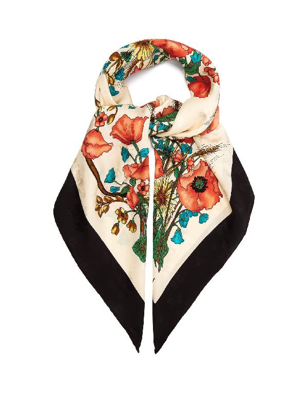 Gucci Poppy-print Silk Scarf In Black