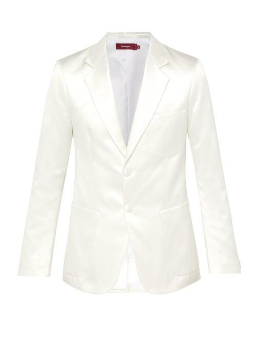 Sies Marjan Roger Single Breasted Satin Blazer In White