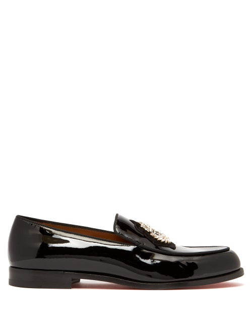 Christian Louboutin Laperouse Crystal-Embellished Patent Loafers In Black