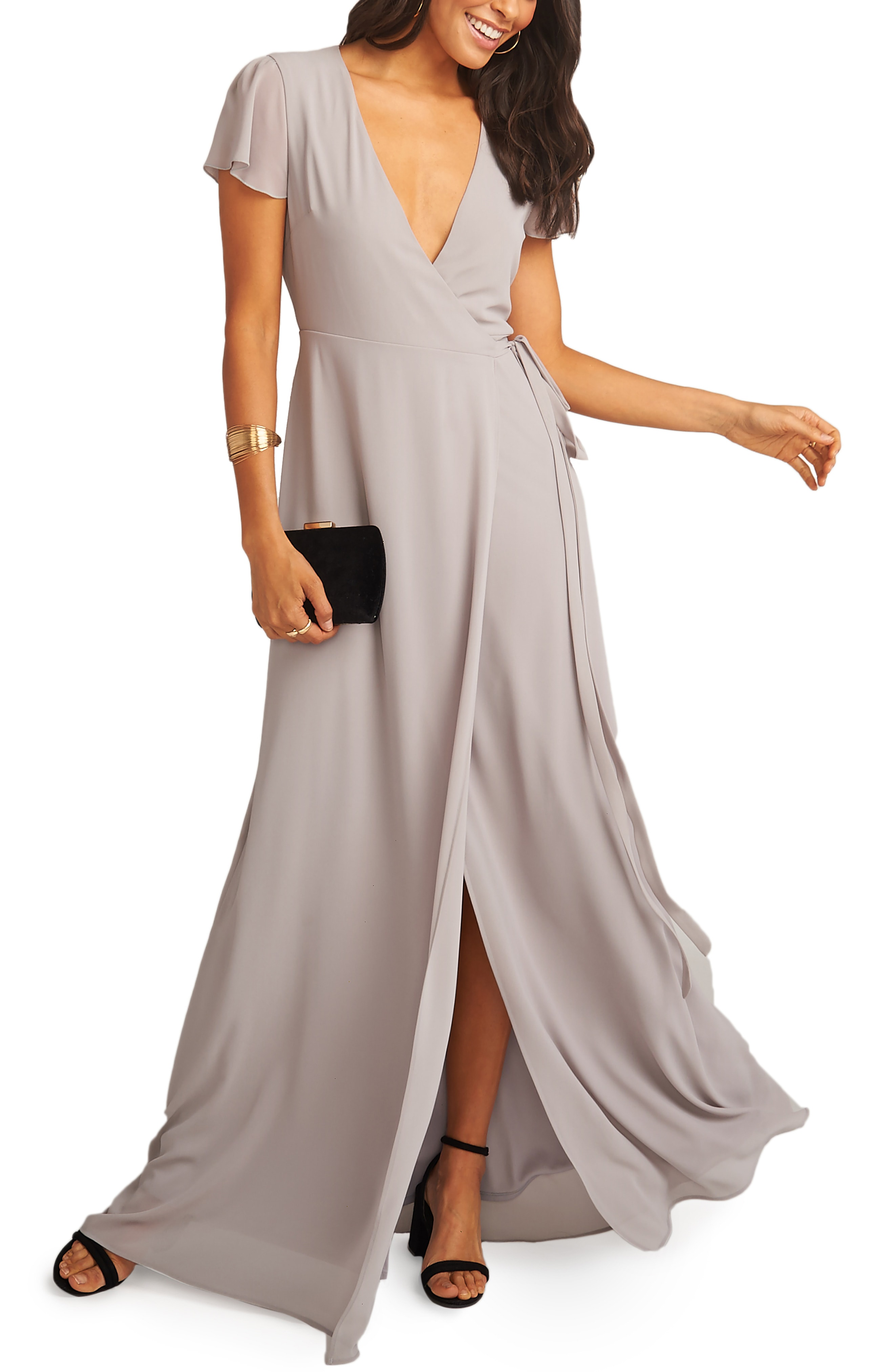 89bc9f68c94 Show Me Your Mumu Noelle Wrap Dress In Dove Grey