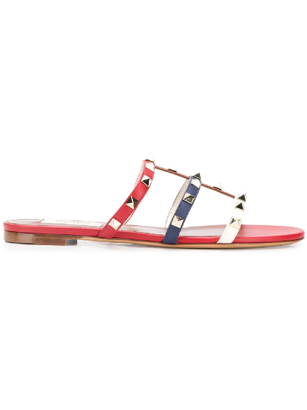 6fde8ec84d28 Valentino Rockstud Flat Sandals In Red