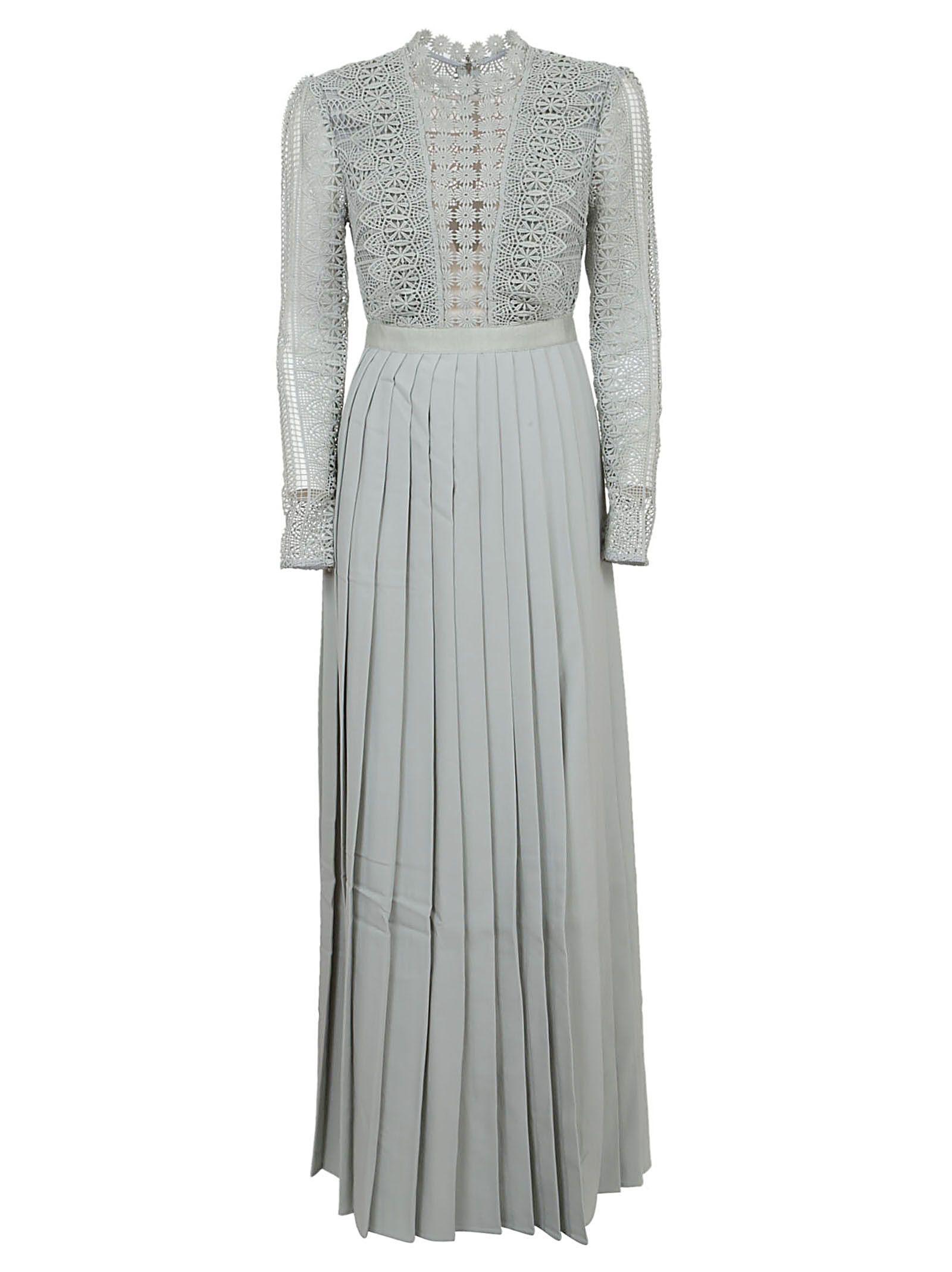 0c969d13bfa Self-Portrait Spiral Lace Maxi Dress In Grey Blue