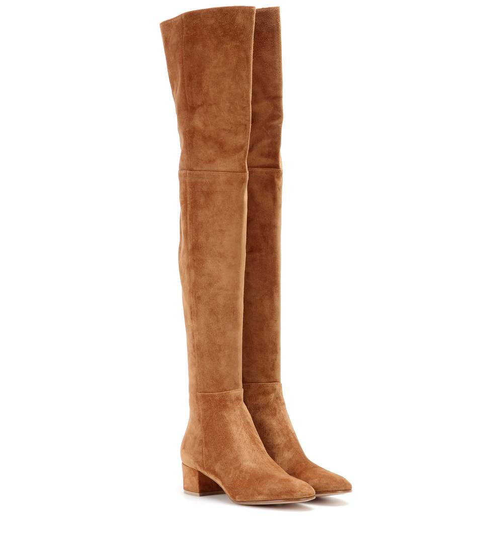 Gianvito Rossi Rolling Over-The-Knee Suede Boots In Brown