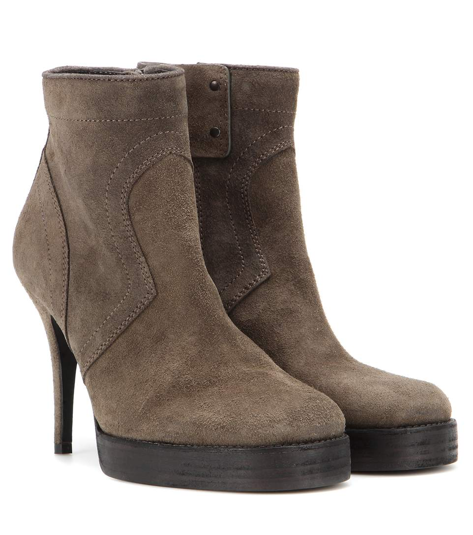 Rick Owens Suede Ankle Boots In Grey