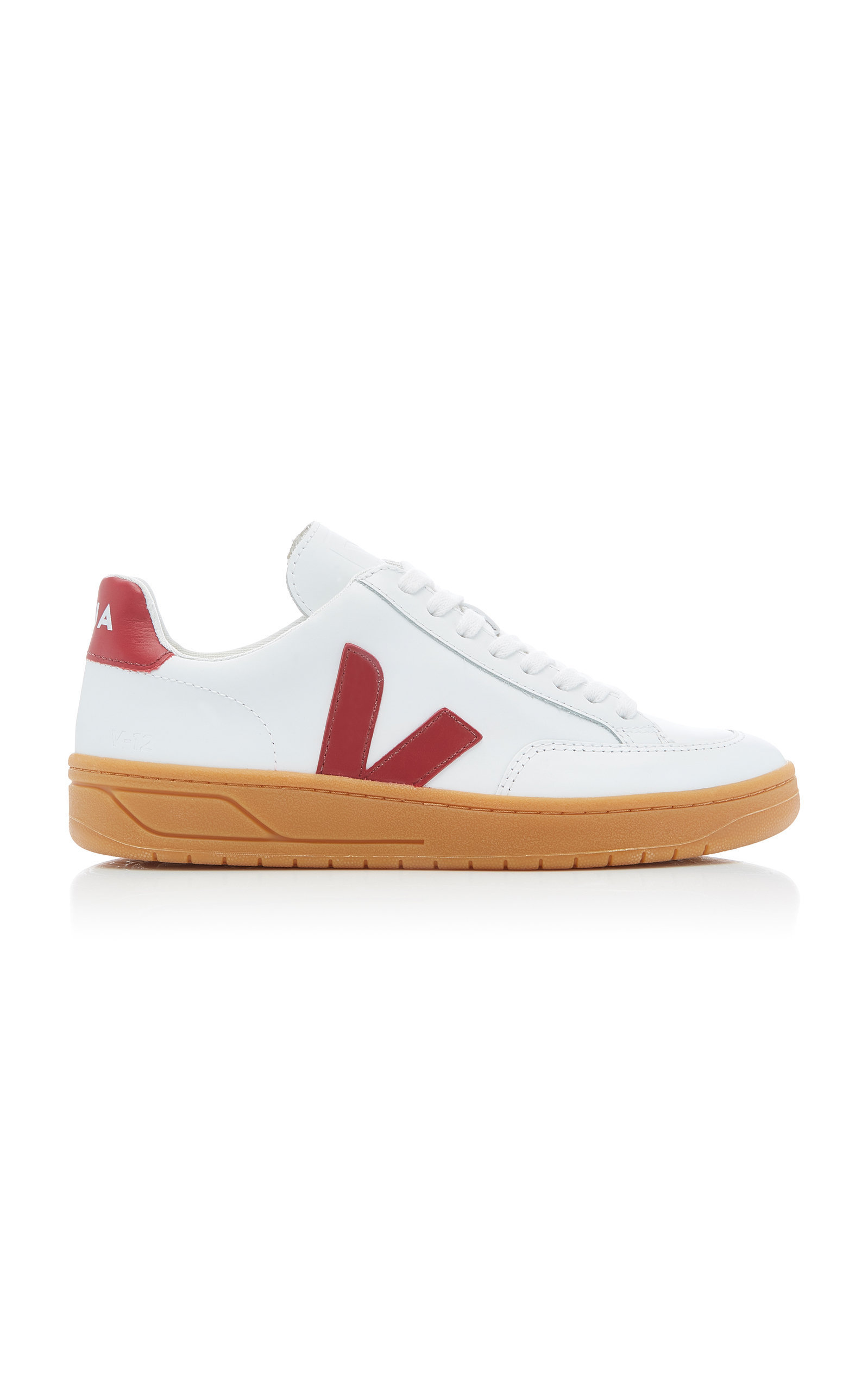 Veja Bastille Two-Tone Leather Sneakers In Red