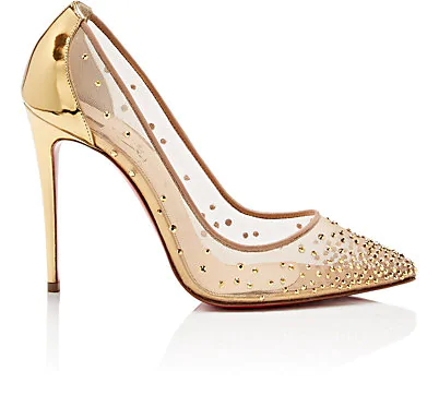 Christian Louboutin Follies Strass Crystal Mesh Red Sole Pumps In Version Gold