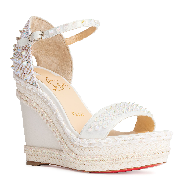 Sole Wedge Sandals Christian Red In White Louboutin Madmonica Spike W9IYHDeE2