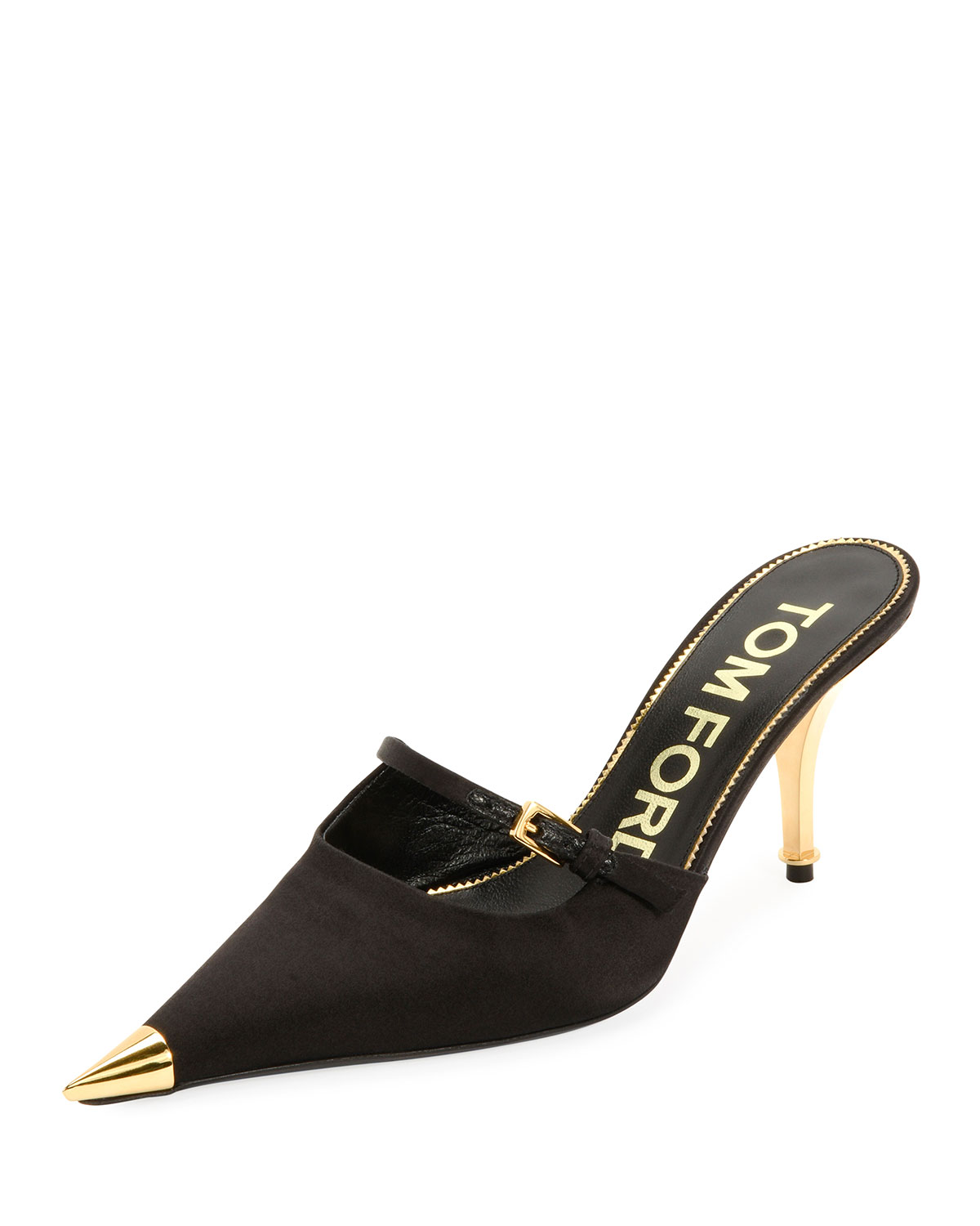Tom Ford Satin Pointed Single-Strap Mules In Black