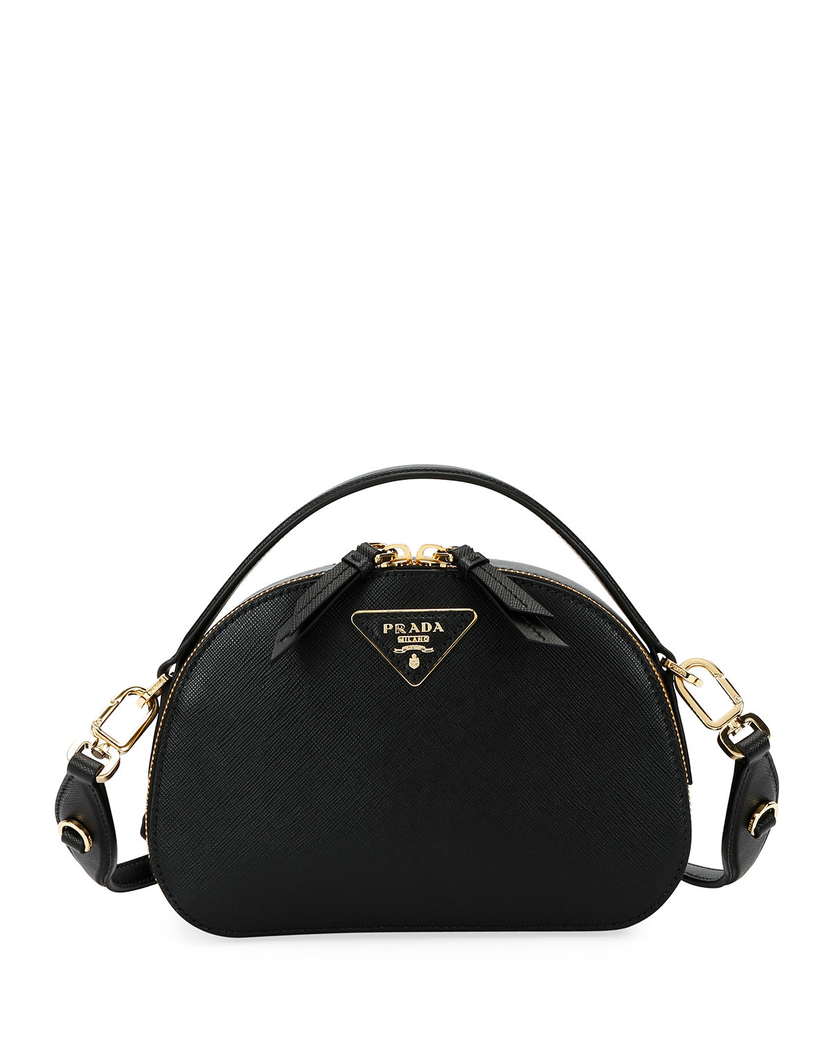 85fd7589c701 Prada Lux Saffiano Rounded Satchel Bag In Black | ModeSens