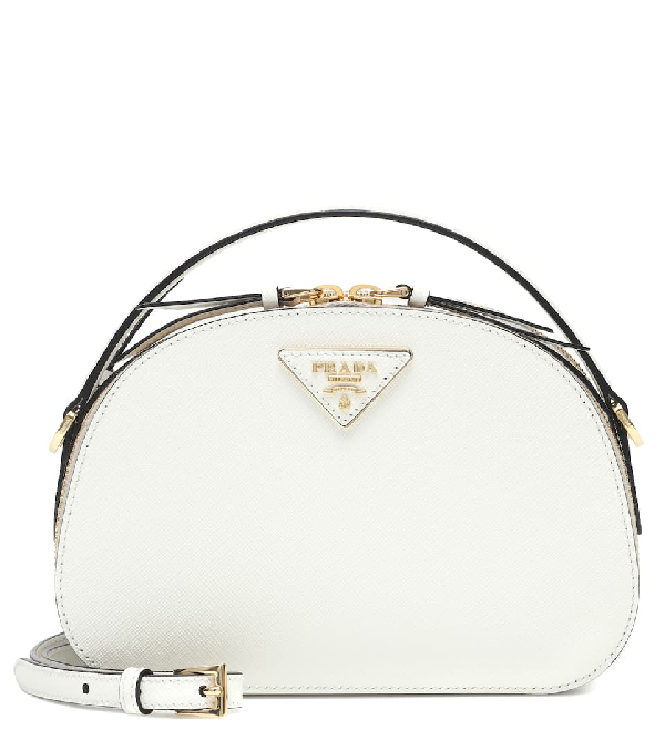 Prada Lux Saffiano Rounded Satchel Bag In White
