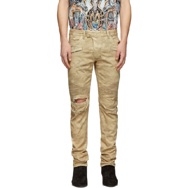 46805826 Balmain Camouflage-Print Ripped Slim-Fit Tapered Biker Jeans In 0Kc Biege