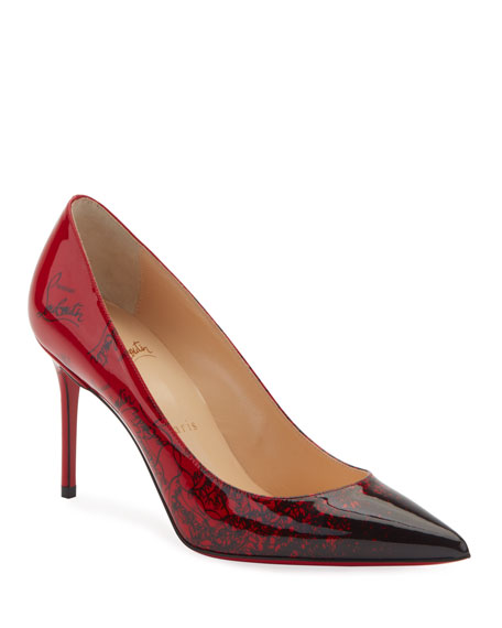 Christian Louboutin Decollete 554 Mid-Heel Patent Degraloubi Red Sole Pumps In Black
