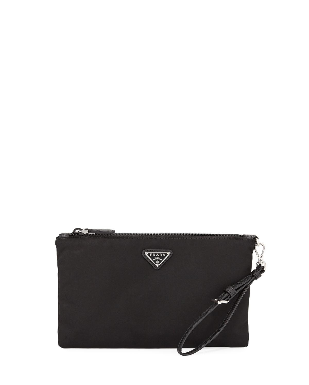 526e3750779638 Prada Vela Wristlet Travel Pouch Bag In Black Pattern | ModeSens