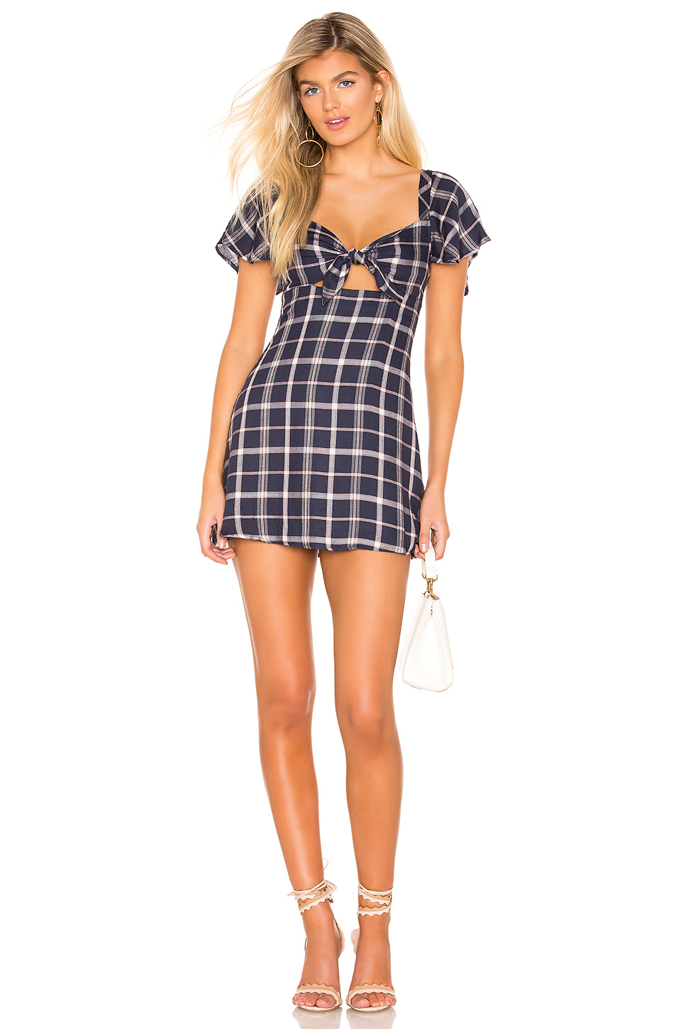 24064dbbb594 Privacy Please Micah Mini Dress In Blue. In Pink & Navy Plaid