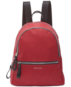 Calvin Klein Elaine Backpack In Red/Silver