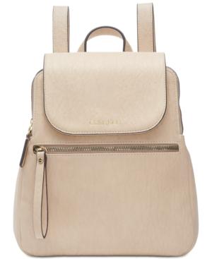 Calvin Klein Elaine Flap Backpack In Light Sand/Gold