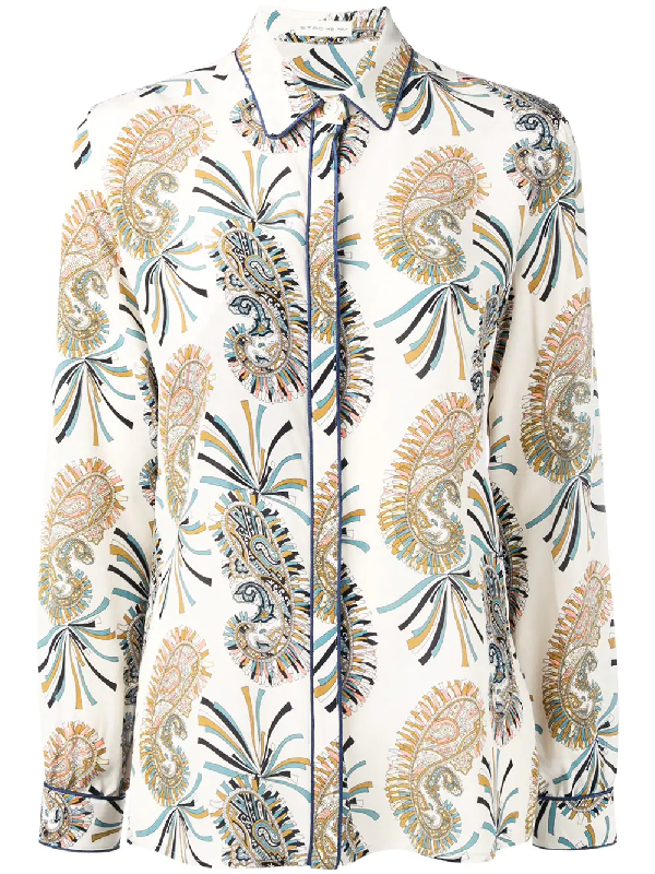 14e8f22859ab6 Etro Paisley Silk Button-Down Shirt In Neutrals | ModeSens