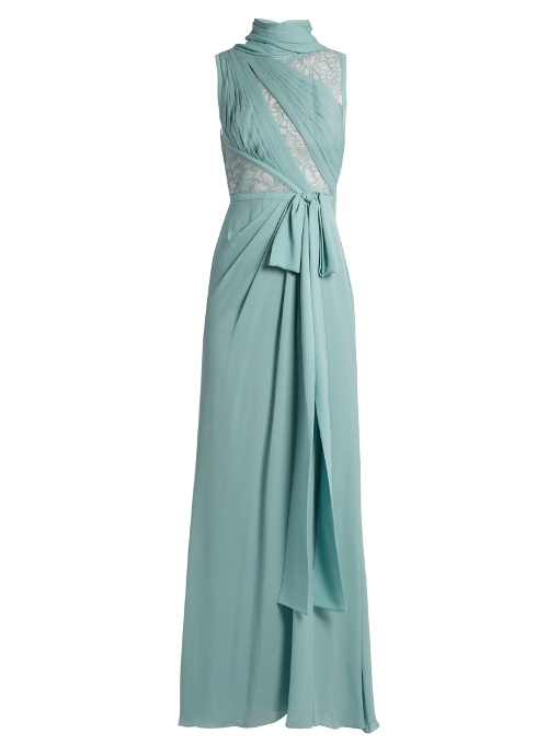 2abbc82191df Elie Saab Lace-Panelled Silk-Blend Crepe Gown In Light Green