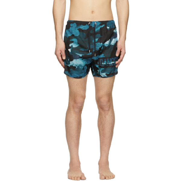 Neil Barrett Dance Camouflage Print Swim Shorts In 2205.blu