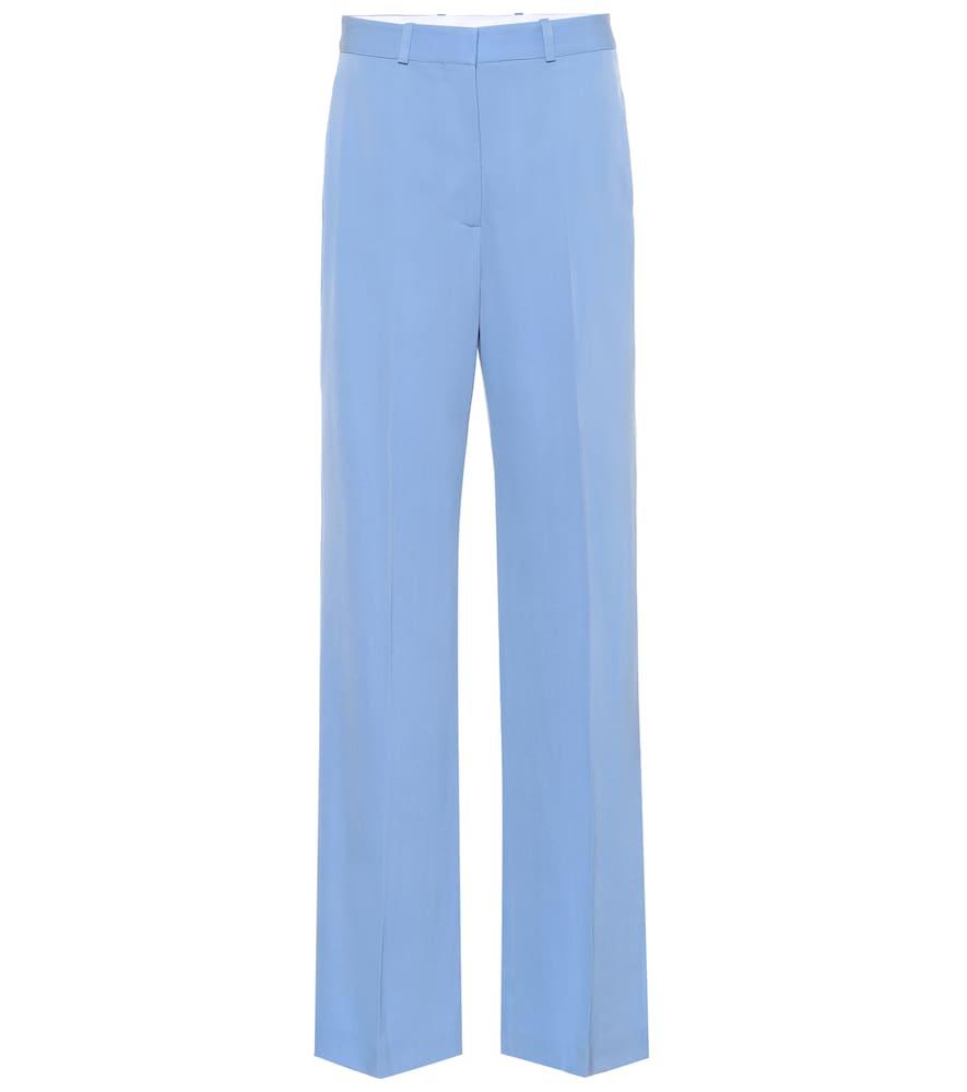 Stella Mccartney Wool Wide-Leg Pants In Blue