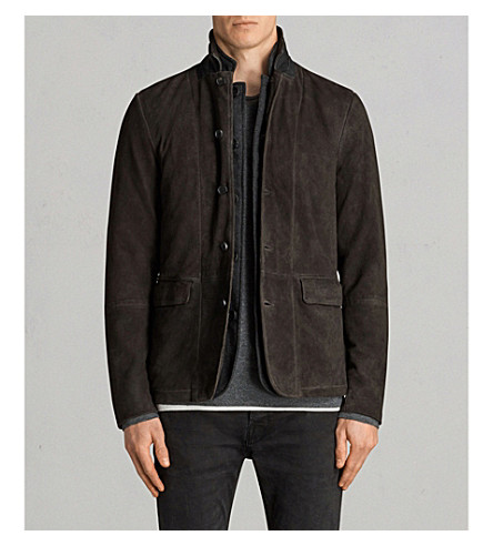 Allsaints Survey Brushed-leather Blazer In Anthracitegre