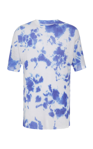 The Elder Statesman Exclusive Cyclone Tie-Dyed Cashmere T-Shirt In Blue