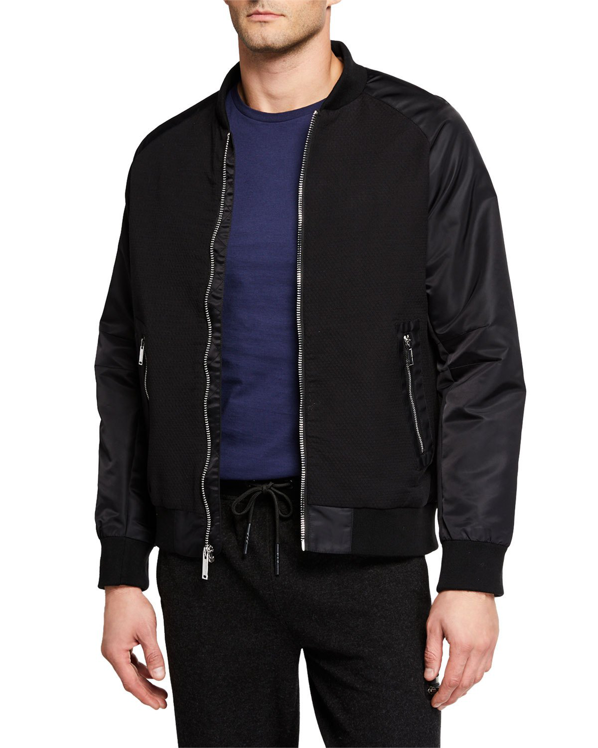 ee725a72 Karl Lagerfeld Men's Mixed-Media Bomber Jacket In Black | ModeSens