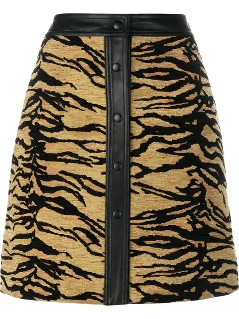 Adam Lippes Leopard-Print Duchess Satin Skirt In Jaguar