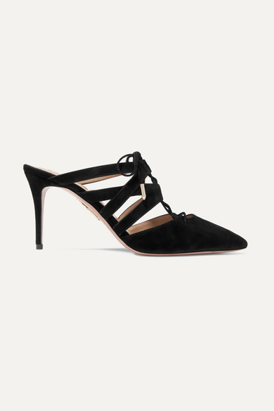 Aquazzura Belgravia Point-Toe Lace-Up Leather Sandals In Black