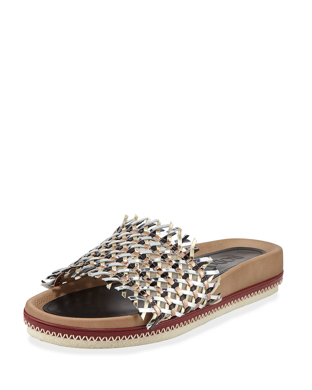 Rodo Woven Leather Slide Sandals In Black