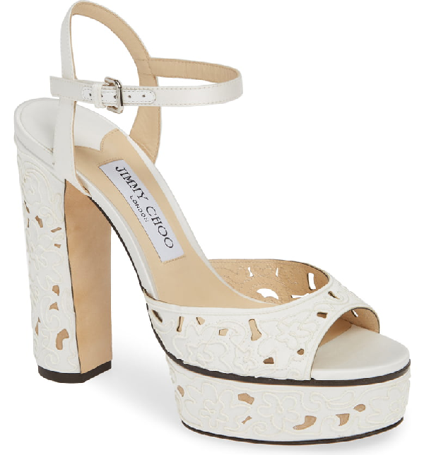 Jimmy Choo Peachy Lace Sandal In White