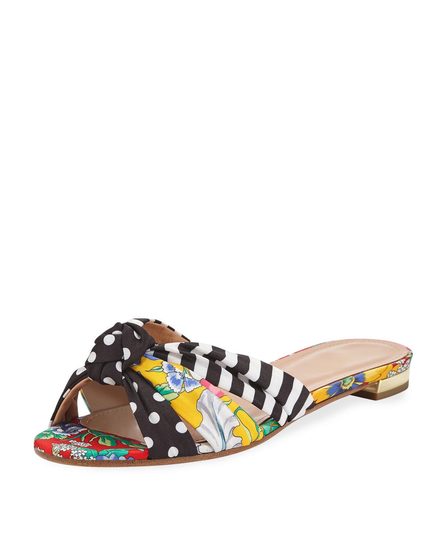95def30b0 AQUAZZURA. X Racil Menorca Mixed-Print Flat Slide Sandals in Black White