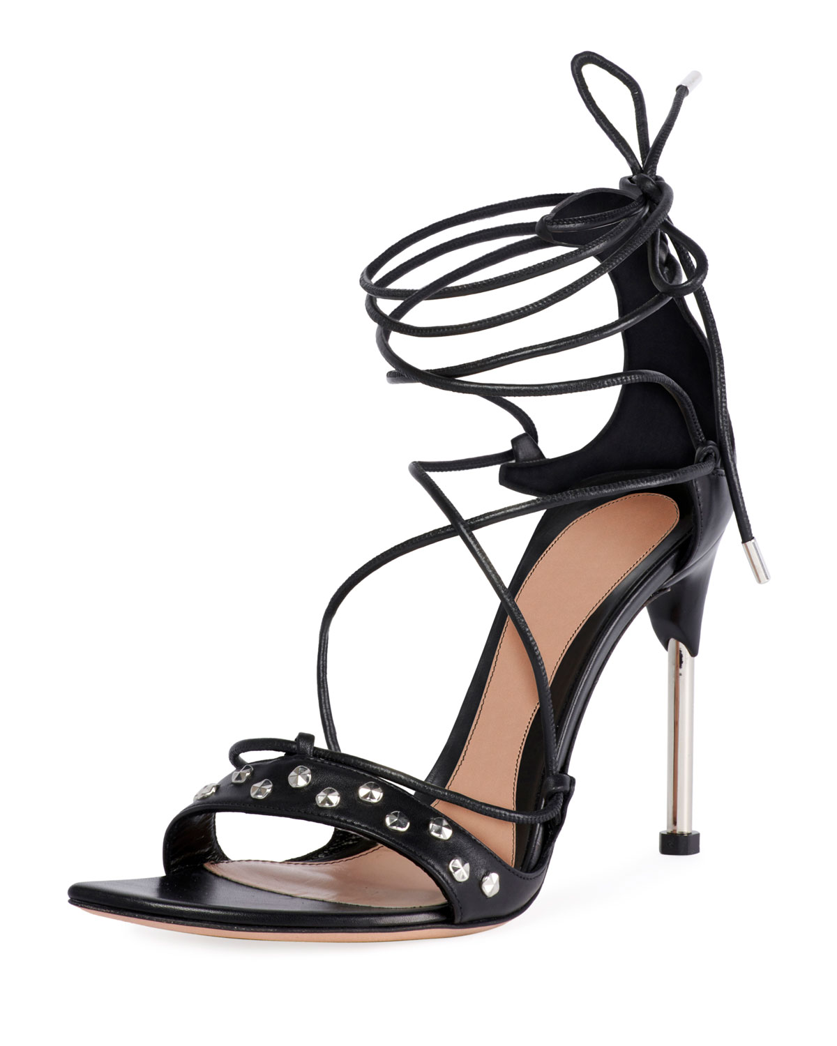 3178dc0be47c Alexander Mcqueen Lace-Up Tie High Sandals In Black Silver