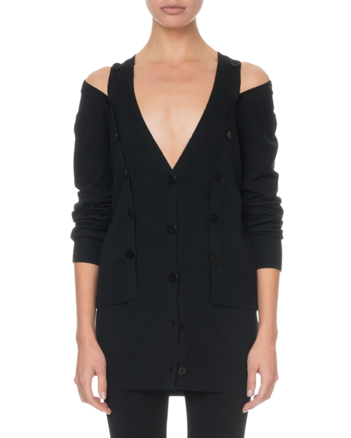 Altuzarra Cold-Shoulder Button-Front Vest Cardigan In Black