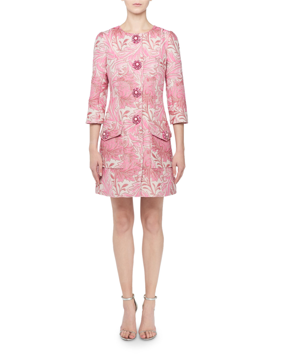 Andrew Gn Jacquard Button-Front Coat In Pink Pattern