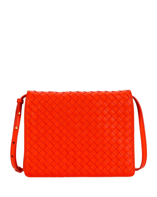 9216cc43e9 Bottega Veneta Intrecciato Leather Flap Shoulder Bag