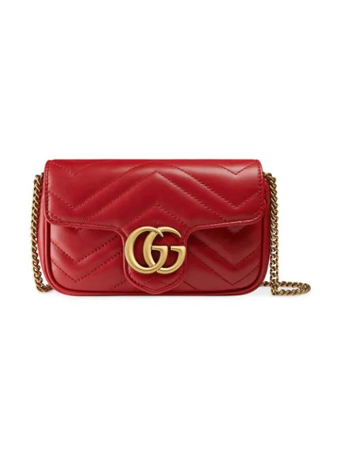 Gucci Supermini Gg Marmont 2.0 Matelasse Leather Shoulder Bag - Red