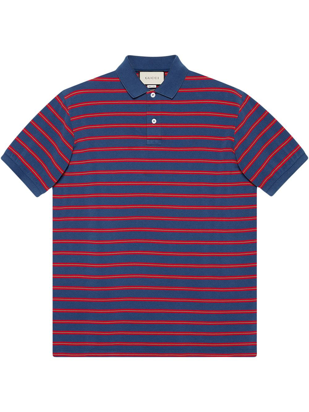 2073f7ee79df Gucci Stonewashed Stripe Polo Shirt In Blue