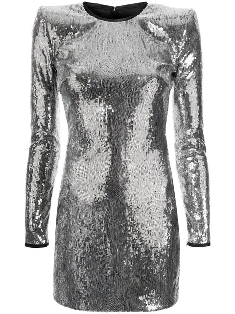 Dsquared2 Long Sleeve Sequined Dress In Silver