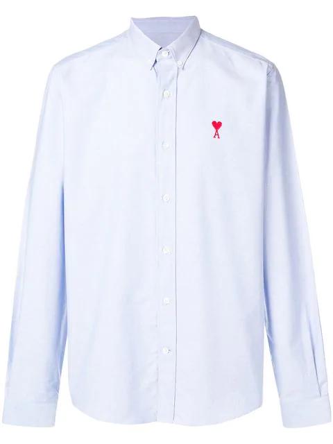 Ami Alexandre Mattiussi Embroidered Logo Cotton Oxford Shirt In 459 Light Blue