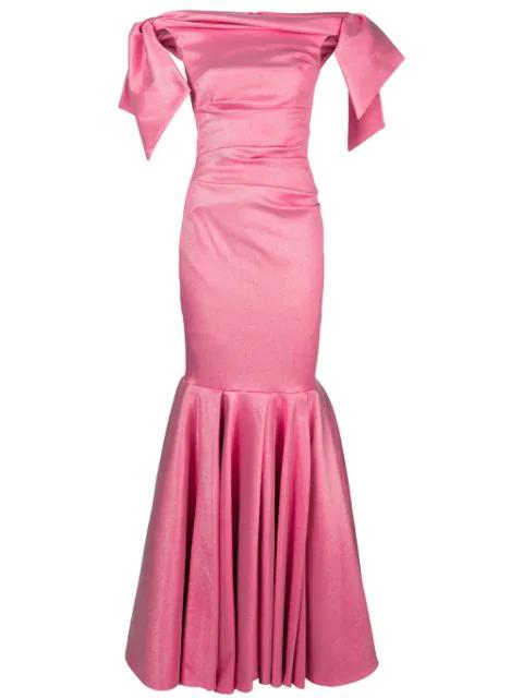 Talbot Runhof LamÉ Evening Dress In 397 (Fraise)
