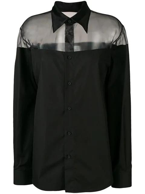 Maison Margiela Sheer Detail Shirt In Black
