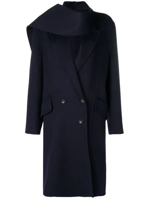 Jw Anderson Navy Double Face Wool Scarf Coat In Blue