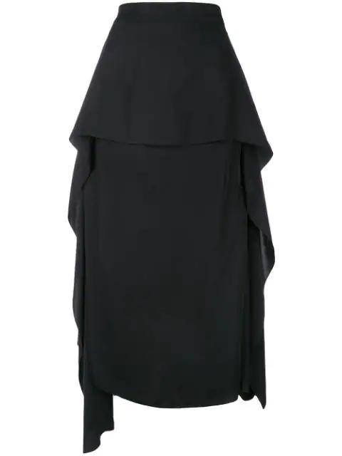Jw Anderson Draped Side Asymmetrical Skirt In 999 Black